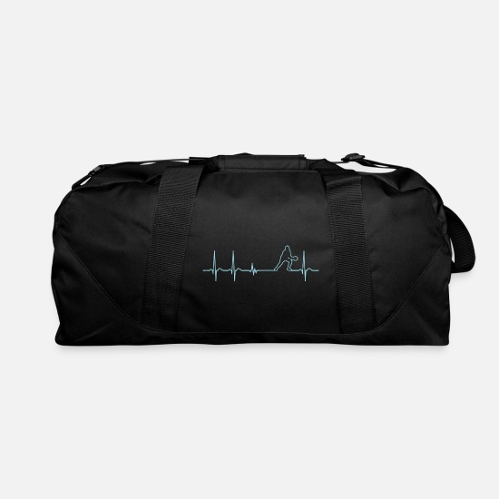 Ping Bags & Backpacks - Heartbeat Ping Pong Table Tennis Player Coach Gift - Duffle Bag black