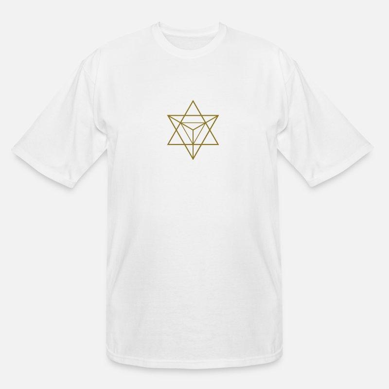 Merkaba Star Tetrahedron Flower of Life  Purple men/'s t shirt white