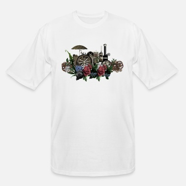 Steam Engine Awesome steam engine with flowers - Men's Tall T-Shirt