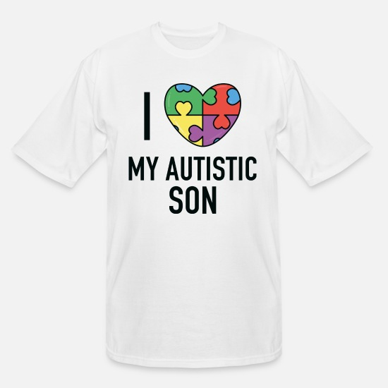Puzzle T-Shirts - I Love My Autistic Son - Men's Tall T-Shirt white