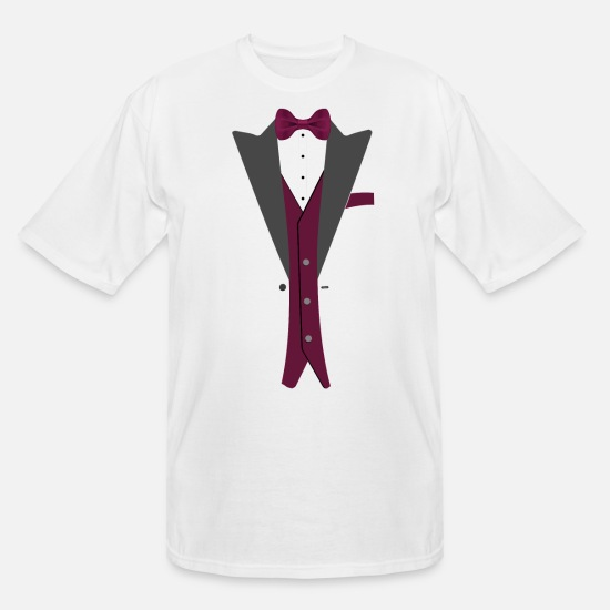 Formal T-Shirts - Tuxedo Burgundy Bowtie - Men's Tall T-Shirt white