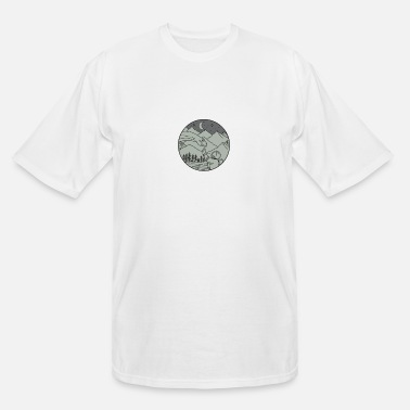 Mountains Astronaut Touching Brontosaurus Circle Mono Line - Men's Tall T-Shirt