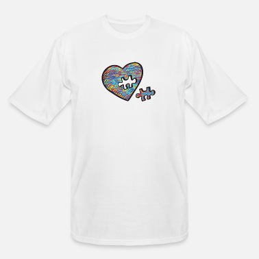 Puzzle Cute Autism Heart Autism Awareness - Men's Tall T-Shirt