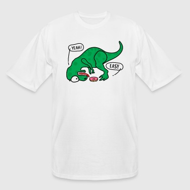 T Rex tries to eat donuts T-shirt. - Men's Tall T-Shirt