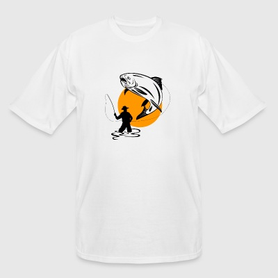 Fisherman - FLY FISHERMAN CATCHING A LEAPING TRO - Men's Tall T-Shirt