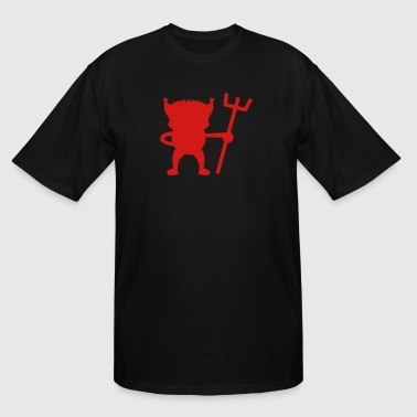 red devil cute with Pitchfork - Men's Tall T-Shirt