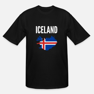 Iceland Map Icelander Gift - Iceland Map Country - Men's Tall T-Shirt