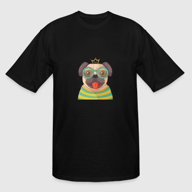 Hand drawn pug with glasses - Men's Tall T-Shirt
