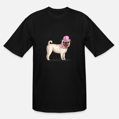 Modern pug with cap and bow tie - Men's Tall T-Shirt