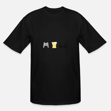 Boobs Game Gaming beer and boobs - Men's Tall T-Shirt