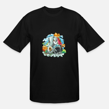 Angry Elephant crushing elephant - Men's Tall T-Shirt