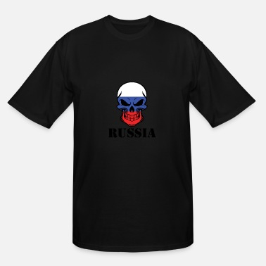 Russian Russia Russian Flag Skull Russia - Men's Tall T-Shirt
