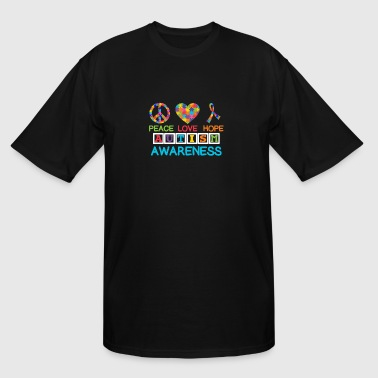 Autism Awareness peace love hope - Men's Tall T-Shirt
