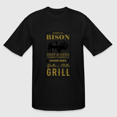 Spare Ribs Label Bison American Barbecue Spare Ribs - Men's Tall T-Shirt