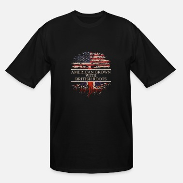 American British American Grown with British Roots - Men's Tall T-Shirt
