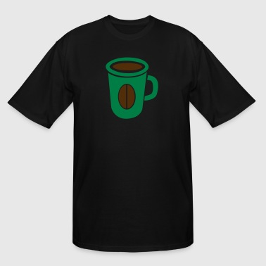 green coffee cup with bean funky - Men's Tall T-Shirt