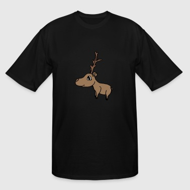 Brown Deer Head cute deer with a big antler , sweet gift idea - Men's Tall T-Shirt
