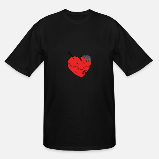 Heart T-Shirts - Broken Heart Heartache Heartbreak Scars Pain - Men's Tall T-Shirt black