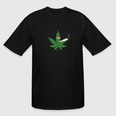 Cannabis Leaf Smoking a Spliff - Men's Tall T-Shirt