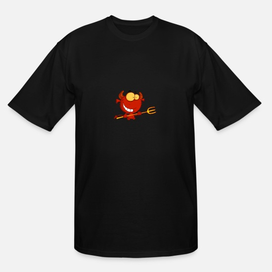 Red T-Shirts - Red Devil Holding A Pitchfork - Men's Tall T-Shirt black