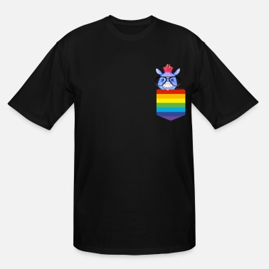 Breasts Rainbow Breast pocket rainbow animal glasses funny, sweet - Men's Tall T-Shirt