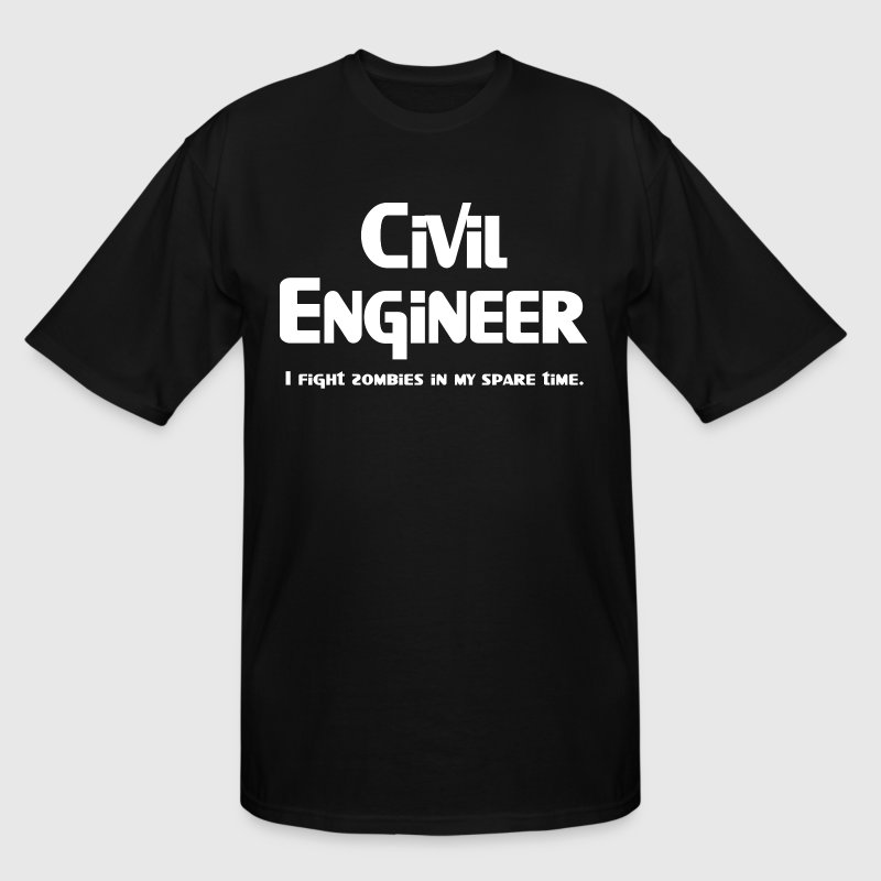 White Civil Engineer Zombie Fighter - Men's Tall T-Shirt