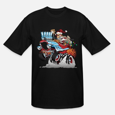 Automobile Hot Rod Santa Christmas Cartoon - Men's Tall T-Shirt
