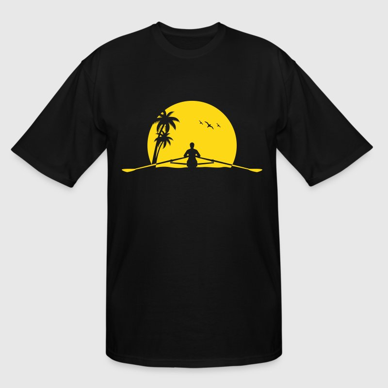 rowing sunset row boat club sunrise palms sunset - Men's Tall T-Shirt