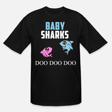 Pregnancy Announcement Two Baby Sharks Doo Doo Doo Pregnancy Twins Gift - Men's Tall T-Shirt