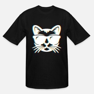 Neon Trance Psychedelic Cat Gift Psy Trance Music Trippy - Men's Tall T-Shirt