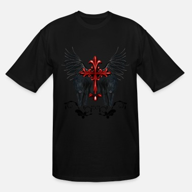 Wings Cross Awesome black wolf with cross and wings - Men's Tall T-Shirt