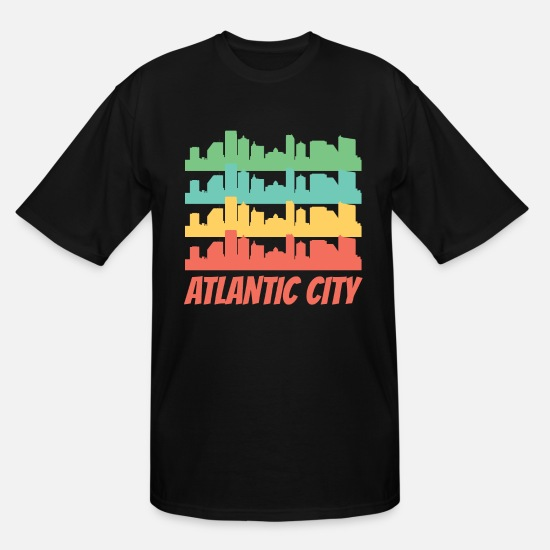Atlantic T-Shirts - Retro Atlantic City NJ Skyline Pop Art - Men's Tall T-Shirt black