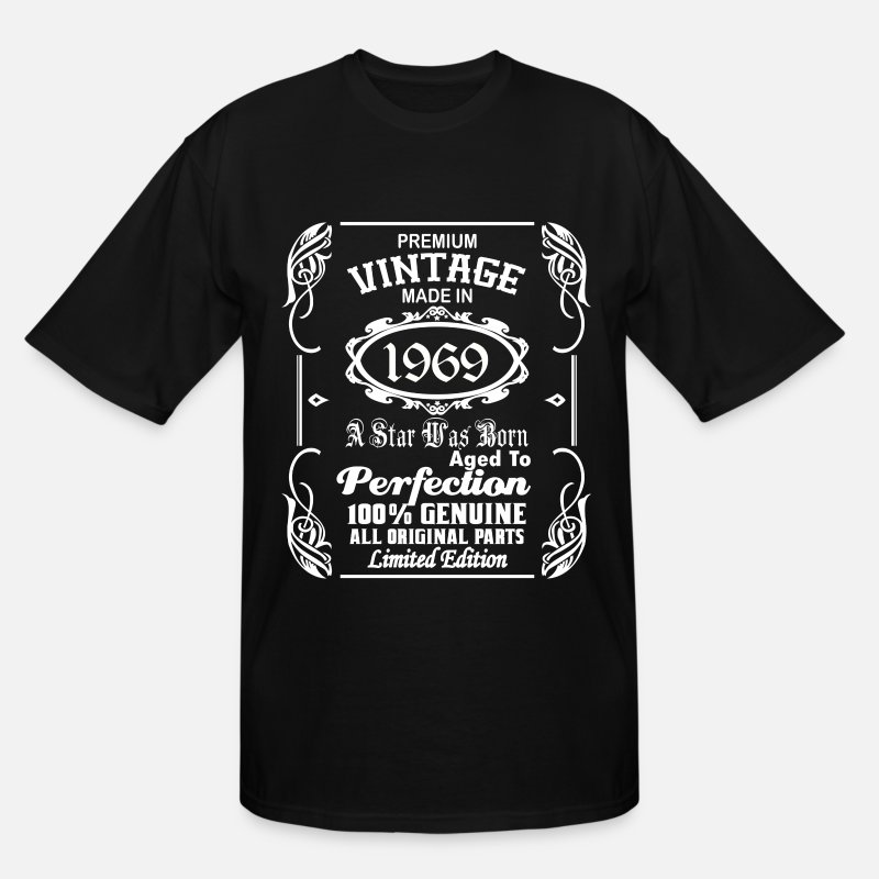 Birth T-Shirts - Vintage made in 1969 - Men's Tall T-Shirt black