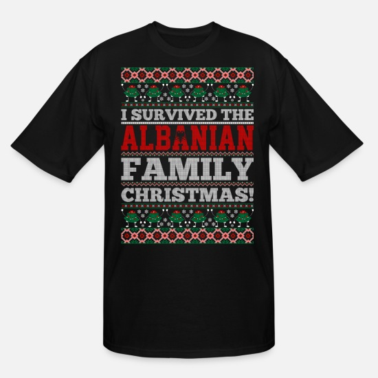 Country T-Shirts - I Survived The Albanian Family Ugly Christmas Tshi - Men's Tall T-Shirt black