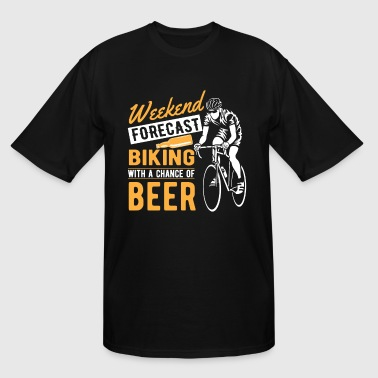 Weekend forecast biking with a chance of beer  - Men's Tall T-Shirt