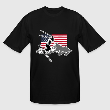 Alpine Ski - USA Flag - Men's Tall T-Shirt