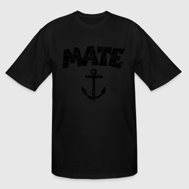 Chief Mate Mate Anchor Sailing Design (Distressed Black) - Men's Tall T-Shirt