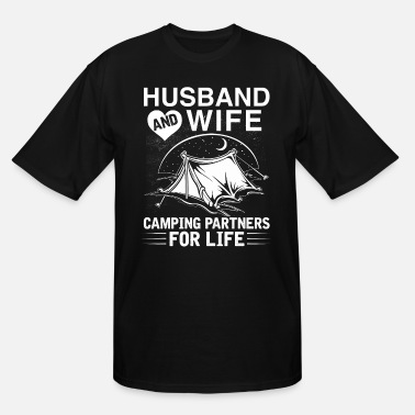 Husband And Wife Camping Husband & Wife, Camping Partners For Life - Men's Tall T-Shirt