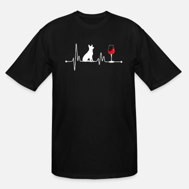 German Heartbeat EKG Pulse German Shepherd and Wine Lover - Men's Tall T-Shirt