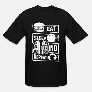 Acid Techno Eat Sleep Techno Repeat - Party Electronic Music - Men's Tall T-Shirt