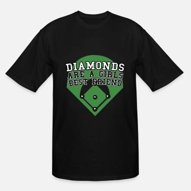 Breast Pitcher Diamonds Are A Girls Best Friend Softball Baseball - Men's Tall T-Shirt