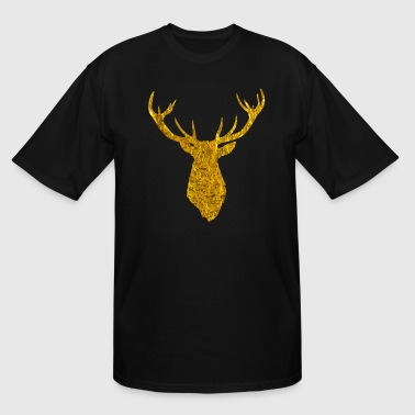 Deer Head Silhouette Gold Stag Deer Head Silhouette with Antlers - Men's Tall T-Shirt