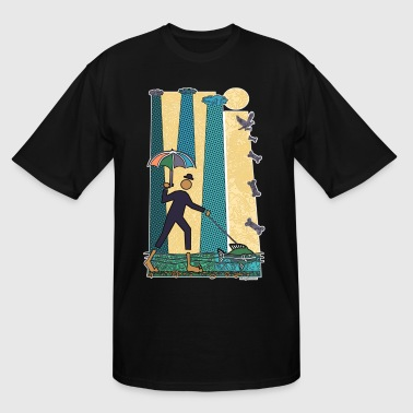 Rainy Walk with the Dog Fish - Men's Tall T-Shirt