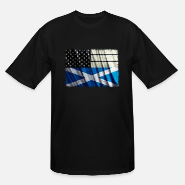 Scottish American Flag Scottish American T Shirt Scottish American Flag Pride Shirt - Men's Tall T-Shirt