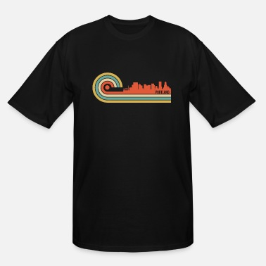 Portland Oregon Retro Style Portland Oregon Skyline - Men's Tall T-Shirt