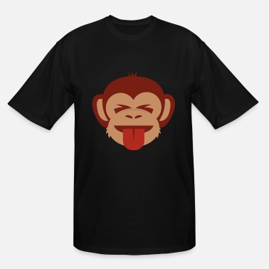 Idiot Stick Monkey Tongue and Closed Eyes - Men's Tall T-Shirt