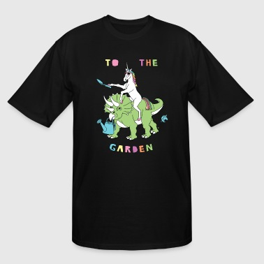 Organic Dinosaur To The Garden Unicorn Riding Dinosaur - Men's Tall T-Shirt