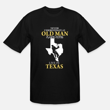 Nipples Play Never underestimate an old man playing tennis - Men's Tall T-Shirt
