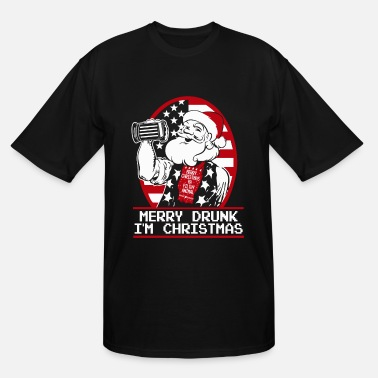 Drunk Bunny Gift for Drunk - Merry Drunk, I'm Christmas - Men's Tall T-Shirt