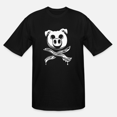 Crossed Bacon Pig Bacon Cross Bones Pirate - Men's Tall T-Shirt